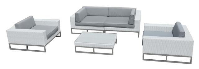 Outdoor Patio Furniture All Weather Wicker 5 Piece Sofa Set