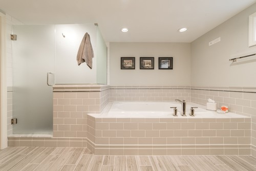 Transitional Master Bathroom Renovation in Fox Valley IL