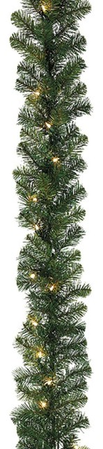 """9&x27;x18"""" Pre-Lit Deluxe Green Windsor Pine Christmas Garland, Clear Lights."""
