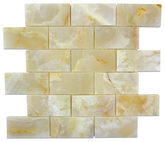 12 X12 White Onyx Polished Finish Mesh Mounted Mosaic Small Piece Sample