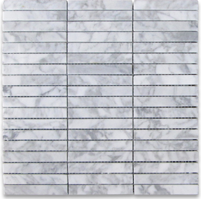 12 Quot X12 Quot Carrara White Rectangular Stacked Mosaic Polished