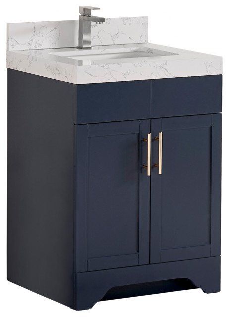24 Vanity Wood Body And Quartz White Transitional Bathroom Vanities And Sink Consoles By Tile Generation Houzz