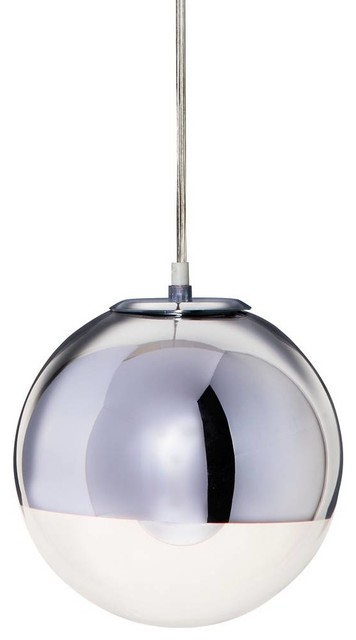 IMPORT LIGHTING & FUNITURE - Mirror Ball Pendant Lamp, Chrome, Large - Pendant  Lighting