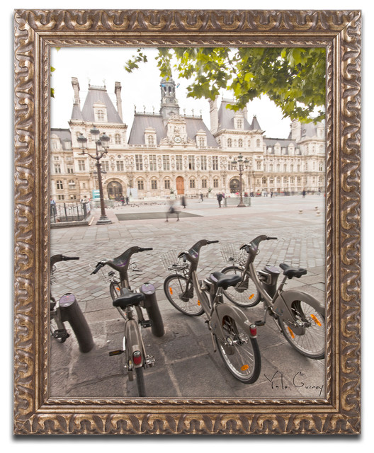 """paris Deux - City Hall Bicycles"" Ornate Framed Art By Yale Gurney, 16""x20""."
