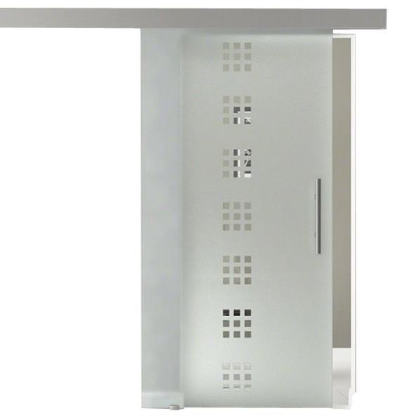 "Sliding Glass Barn Door Frameless / Semi, Transparent, 35""x81""."