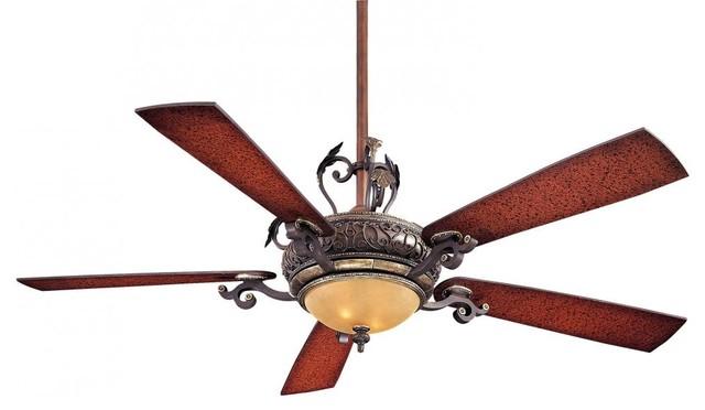 Two Light Sterling Walnut Ceiling Fan.
