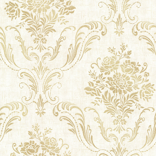 Manor Cream Floral Damask Wallpaper Traditional Wallpaper By