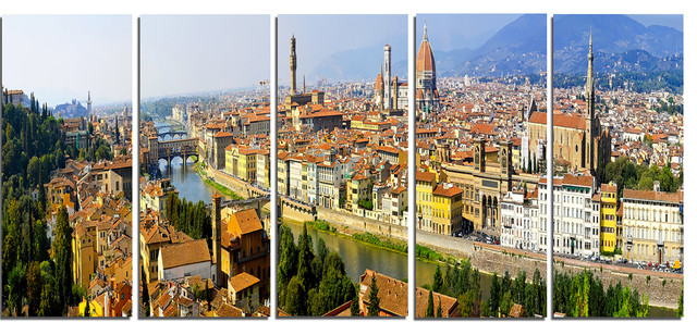 """florence Panoramic View"" Cityscape Photo Metal Wall Art, 5 Panels, 60""x28""."