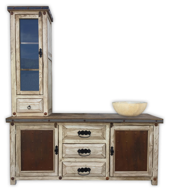 "Rustic Bathroom Vanity Set: Woodland 72"" Rustic Vanity With Tower, Metal Panels"