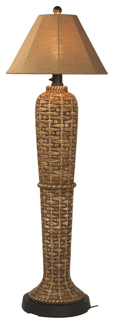 South Pacific Outdoor Floor Lamp, Sesame Sunbrella Shade Traditional Outdoor  Floor Lamps