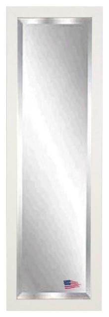 "American Made Glossy White 24""x62"" Full Body Beveled Mirror."