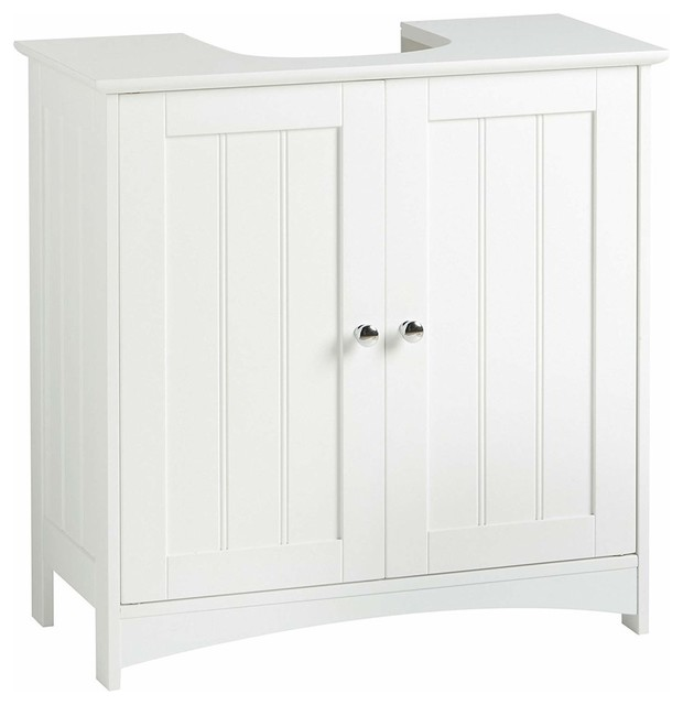 Under Basin Sink Cabinet, Wood With Double Doors and Inner Shelf for Storage