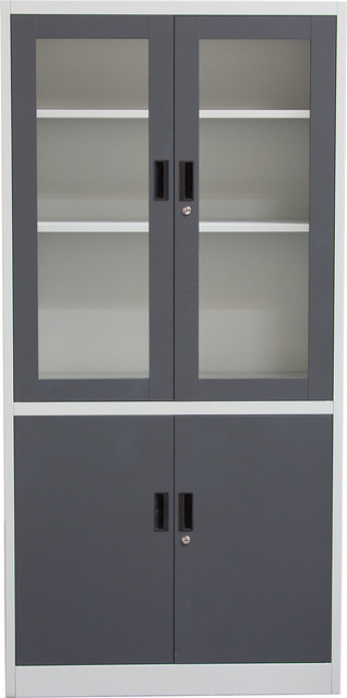 Bookcase With Tempered Glass Door Front and Key Lock Entry, Dark Gray, Off White