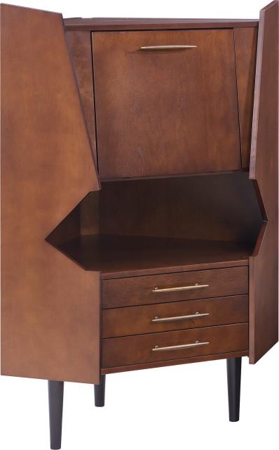 Larson Corner Bar Cabinet - Dark Tobacco