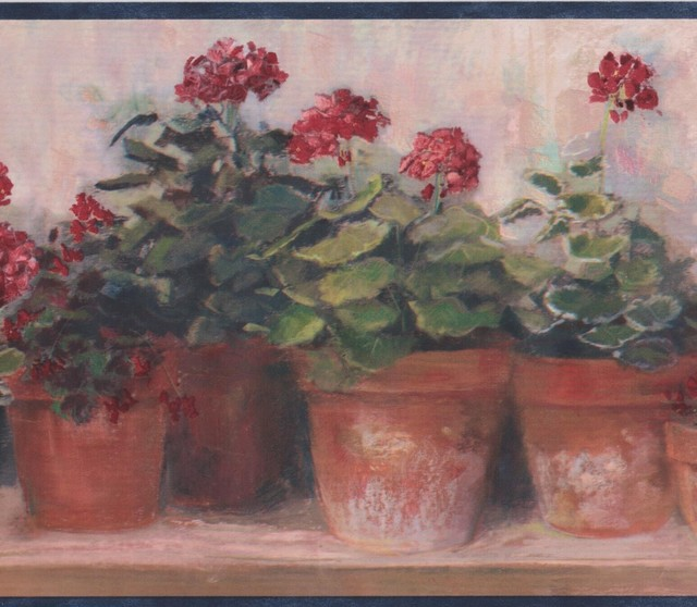 Red Flowers In Pots On Bench Beige Floral Wallpaper Border Retro Design, Roll.