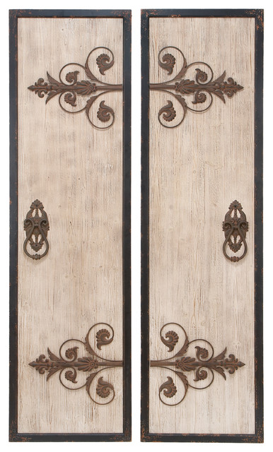 Metal Wall Plaque wooden and metal wall plaques with 2-piece set classic style