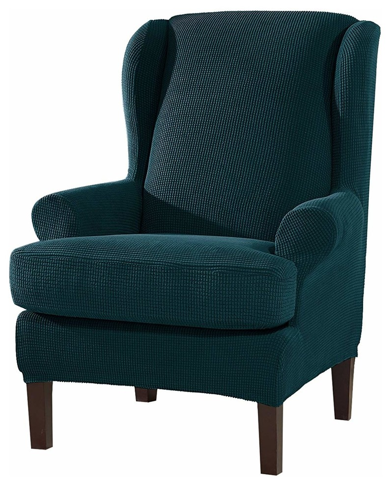 Brilliant Subrtex 2 Pieces Spandex Elastic Wingback Chair Cover Waffle Fabric Teal Blue Creativecarmelina Interior Chair Design Creativecarmelinacom