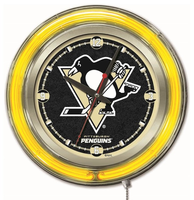 Pittsburgh Penguins Double Neon Ring 19 Quot Logo Clock