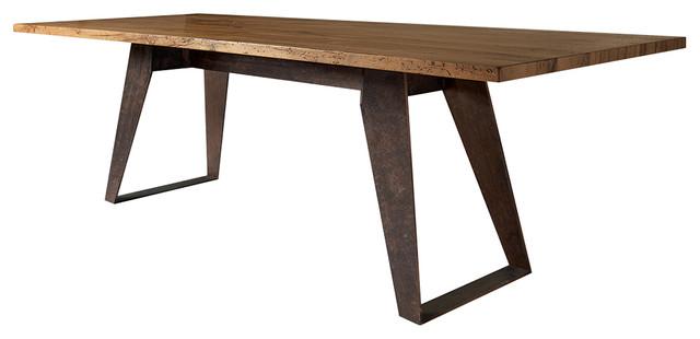 Benjamin Dining Table Solid Antique Oak Top, Oblique Metal Legs