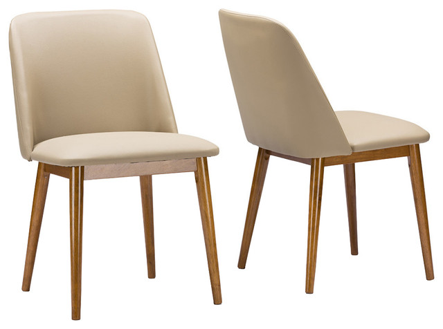 Lavin Midcentury Dark Walnut Beige Faux Leather Dining Chairs, Set Of 2