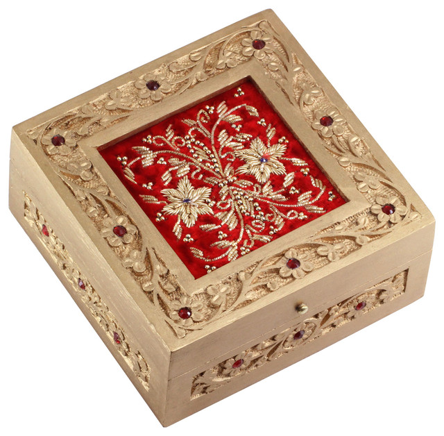 Decorative Wooden Jewelry Boxes : Souvnear artisan crafted jewelry box trinket