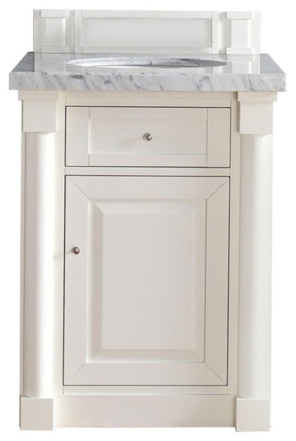 New Haven 26 Cottage White Single Vanity, Carrara White Stone Top.