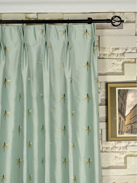 Halo Embroidered Dragonflies Double Pinch Pleat Dupioni Silk Curtains 4 Colors modern-curtains