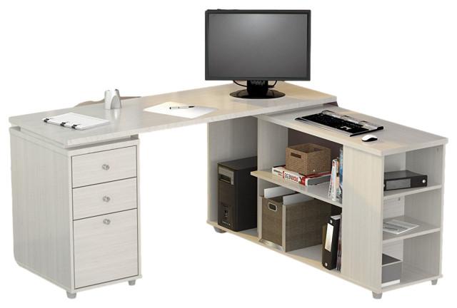 Drawer L Shape Computer Desk, Flash Furniture Frosted Computer Desk With 3 Drawer Pedestal White