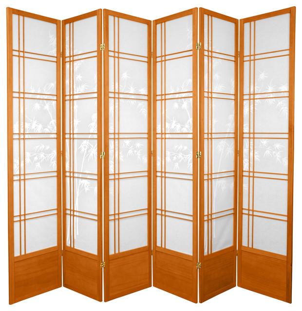 7' Tall Bamboo Tree Shoji Screen, Honey, 6 Panels