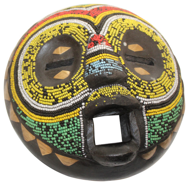 Luxe Beaded African Mask Wall Art Wood Colorful Round 7 Tribal Sculpture Sun