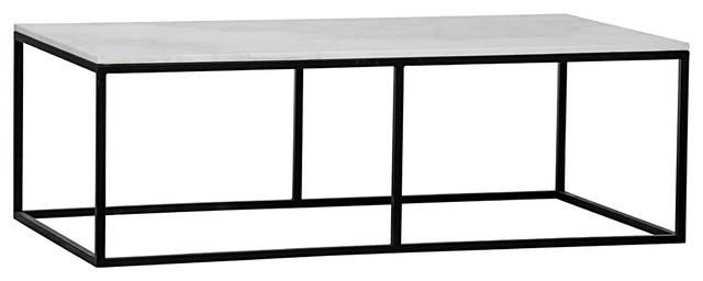 Coen Industrial Black Metal Outline White Stone Coffee Table Industrial  Coffee Tables