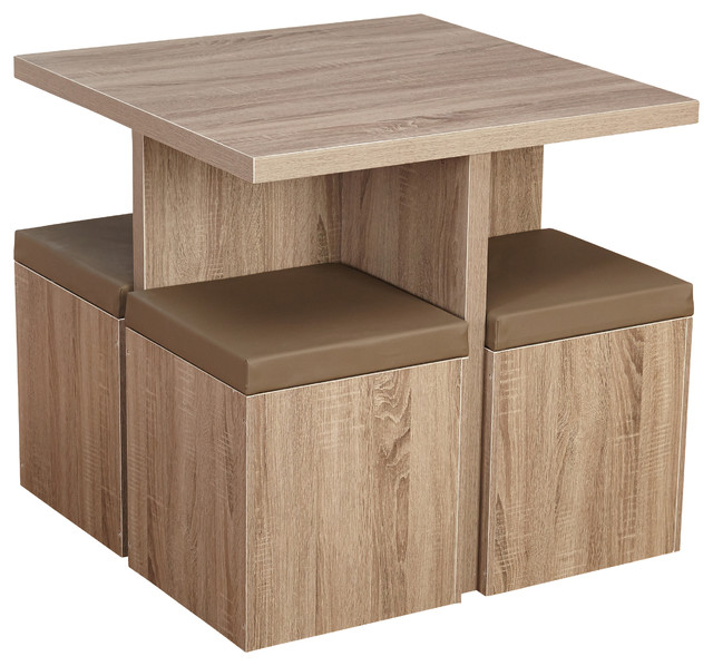 Baxter 5 Piece Dining Set With Storage Ottomans, Natural/taupe.