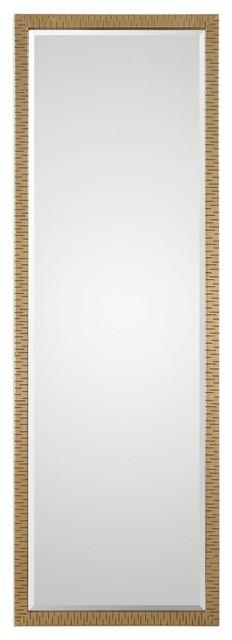 Textured Gold Full Length Wall Mirror, Inca Contemporary Full Length Leaner Mirror Black