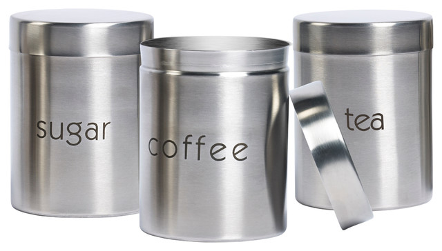 Stainless Kitchen Canisters   Sugar Coffee And Tea Stainless Steel Canisters Set Of 3