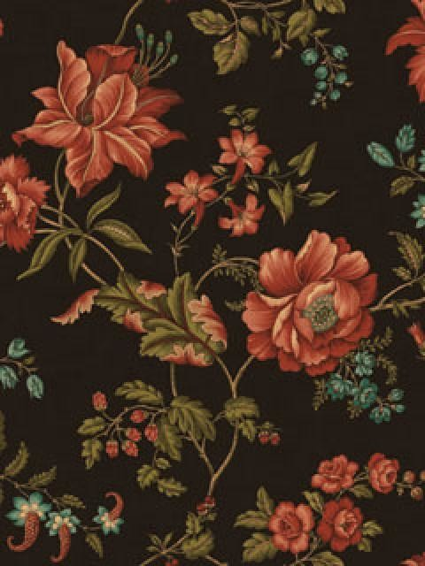 Marcellus Floral Wallpaper, Black, Red, and Green Sample traditional- wallpaper - Pink, Purple, And Taupe Marcellus Floral Wallpaper - Traditional