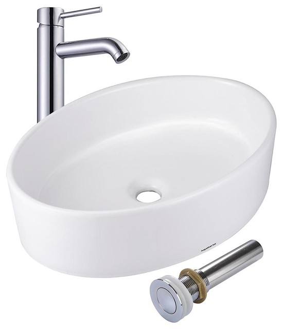 Oval Porcelain Ceramic Vessel Sink With Drain And Faucet.