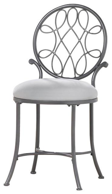 Awe Inspiring Hillsdale Furniture 50946A Omalley Vanity Stool Metallic Gray Theyellowbook Wood Chair Design Ideas Theyellowbookinfo