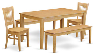 Donovan Dining Table Set With Benches, 5 Pieces, Wood