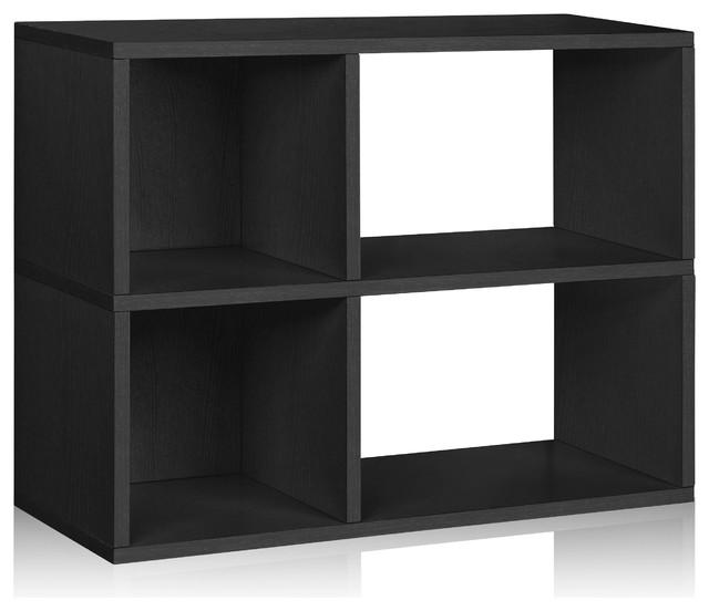 Eco Chelsea Bookcase Cubby Bookshelf, Non Toxic Z-Board, Black.