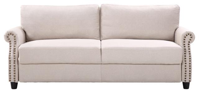 Classic Living Room Linen Sofa, Nailhead Trim Furniture Set, Storage, Beige