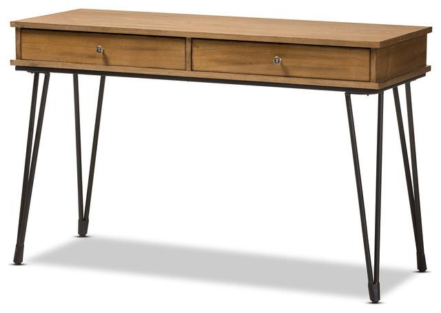 Toma Rustic Metal And Distressed Wood 2 Drawer Storage Desk Desks