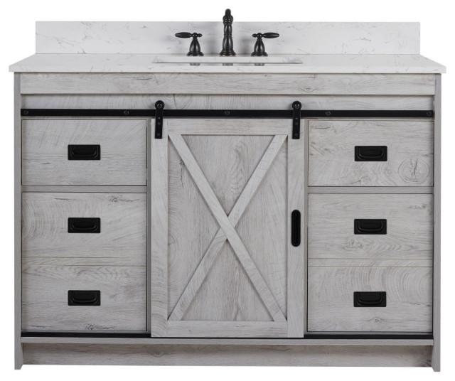 Rafter 48 Bathroom Vanity, 48 White Washed Bathroom Vanity