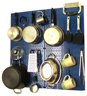 Kitchen Pegboard Organizer Pots and Pans, Blue Pegboard and Black Accessories