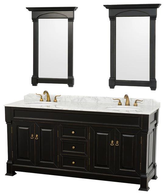 Andover 72 Dbl Vanity Undermount Sinks 28 Mirrors Black White Carrera Marble.