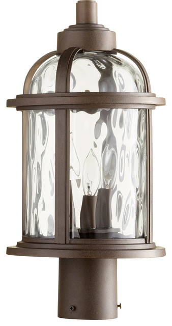 Winston 3-Light Outdoor Post Lantern, Oiled Bronze Finish Clear Hammered Glass