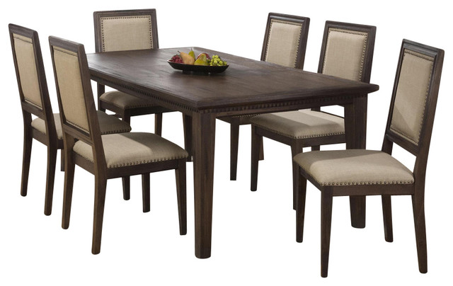 Jofran Geneva Hills 5 Piece Dining Table Set With Tufted Chairs  Transitional Dining