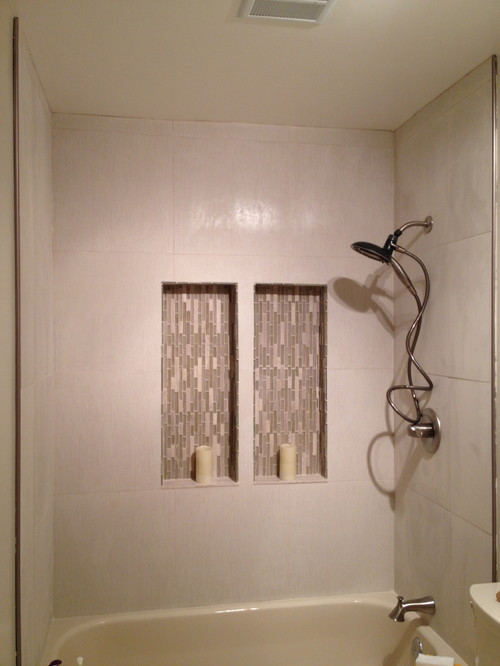 Stuck Mid Remodel Guest Bath Creme Almond Beige White And Small
