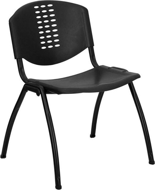 Hercules Series 880 Lb. Capacity Black Plastic Stack Chair With Black Frame.