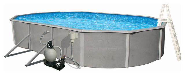 Belize 48 Deep 6 Top Rail Metal Wall Swimming Pool Package, 30&x27;x15&x27;x48.