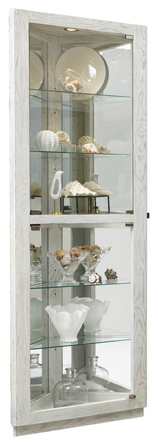 Dual Door 5 Shelf Corner Curio Cabinet Antique White Transitional China Cabinets And Hutches By Buildcom